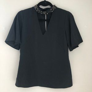 Ann Taylor Key Hole Blouse with Jeweled Neck